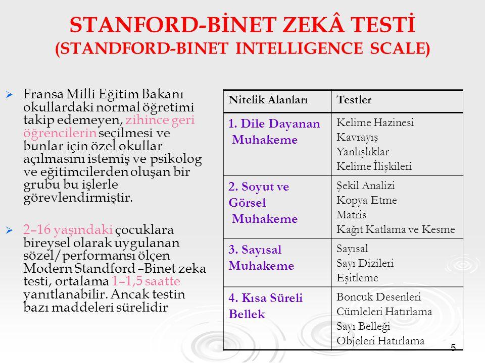 5 STANFORD-BİNET ZEKÂ TESTİ (STANDFORD-BINET INTELLIGENCE SCALE)   Fransa Milli Eğitim Bakanı okullardaki normal öğretimi takip edemeyen, zihince ge