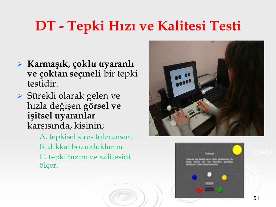 51 DT - Tepki Hızı ve Kalitesi Testi   Karmaşık, çoklu uyaranlı ve çoktan seçmeli bir tepki testidir.   Sürekli olarak gelen ve hızla değişen görs