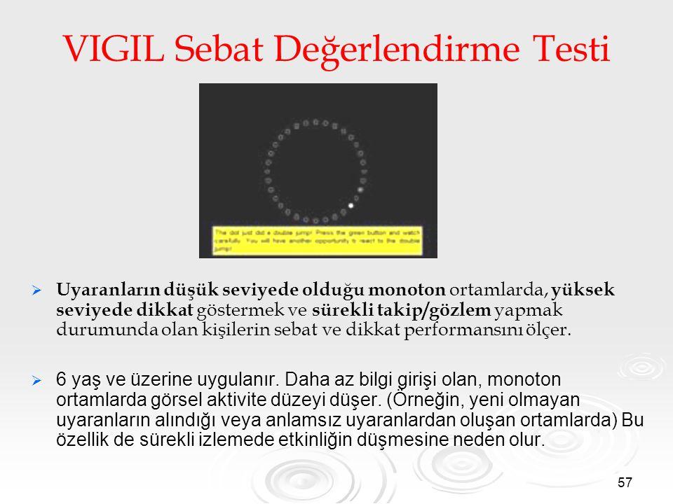 57 VIGIL Sebat Değerlendirme Testi   Uyaranların düşük seviyede olduğu monoton ortamlarda, yüksek seviyede dikkat göstermek ve sürekli takip/gözlem yapmak durumunda olan kişilerin sebat ve dikkat performansını ölçer.