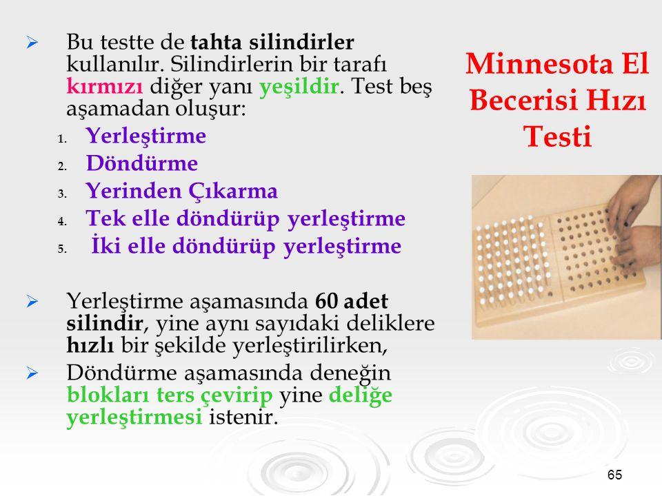 65 Minnesota El Becerisi Hızı Testi   Bu testte de tahta silindirler kullanılır. Silindirlerin bir tarafı kırmızı diğer yanı yeşildir. Test beş aşam