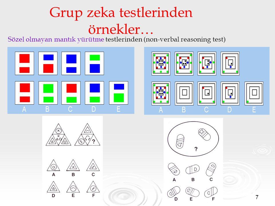 7 Grup zeka testlerinden örnekler… Sözel olmayan mantık yürütme testlerinden (non-verbal reasoning test)