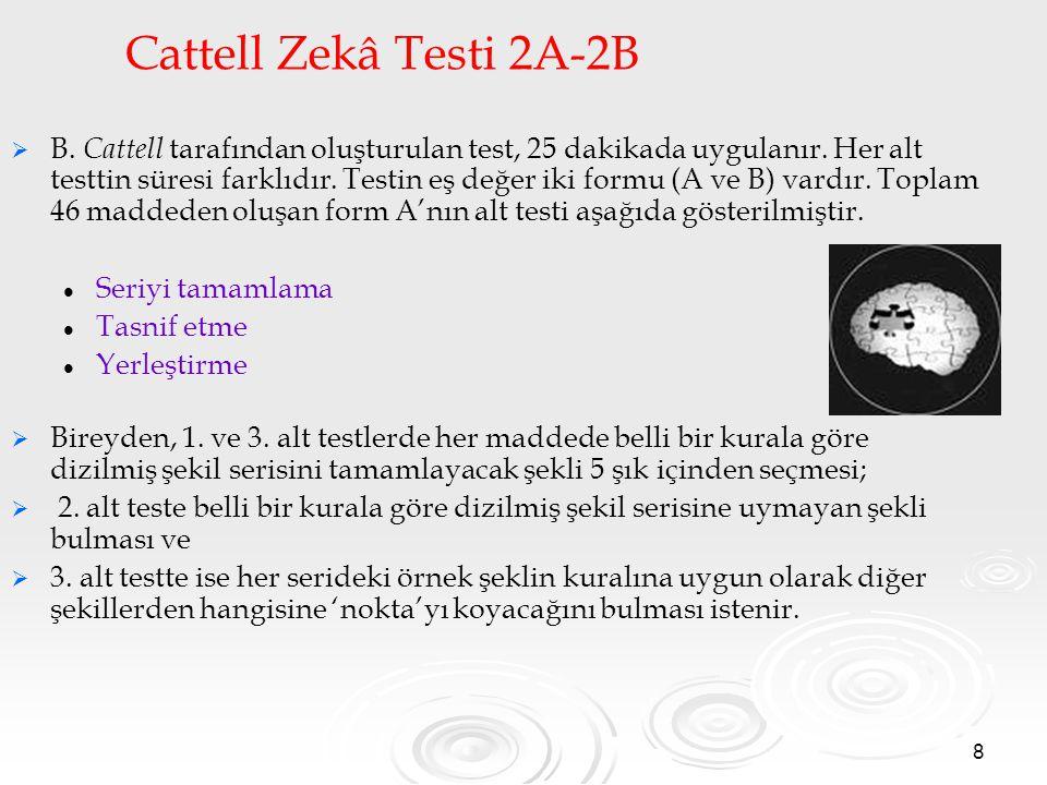 8 Cattell Zekâ Testi 2A-2B   B. Cattell tarafından oluşturulan test, 25 dakikada uygulanır. Her alt testtin süresi farklıdır. Testin eş değer iki fo