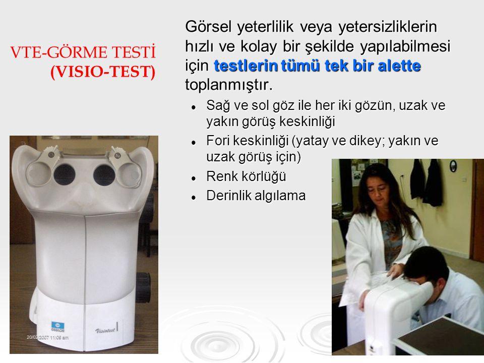 80 VTE-GÖRME TESTİ (VISIO-TEST) Görsel yeterlilik veya yetersizliklerin hızlı ve kolay bir şekilde yapılabilmesi için testlerin tümü tek bir alette toplanmıştır.