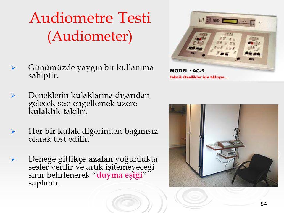 84 Audiometre Testi (Audiometer)   Günümüzde yaygın bir kullanıma sahiptir.   Deneklerin kulaklarına dışarıdan gelecek sesi engellemek üzere kulak