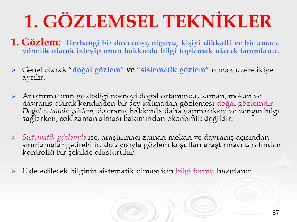 87 1.GÖZLEMSEL TEKNİKLER 1.