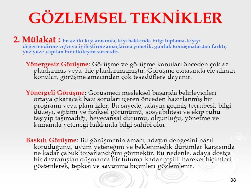 88 GÖZLEMSEL TEKNİKLER 2.