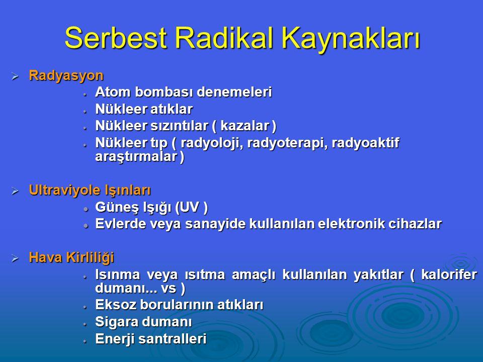 Serbest Radikal Kaynakları  Radyasyon  Atom bombası denemeleri  Nükleer atıklar  Nükleer sızıntılar ( kazalar )  Nükleer tıp ( radyoloji, radyoterapi, radyoaktif araştırmalar )  Ultraviyole Işınları Güneş Işığı (UV ) Güneş Işığı (UV ) Evlerde veya sanayide kullanılan elektronik cihazlar Evlerde veya sanayide kullanılan elektronik cihazlar  Hava Kirliliği  Isınma veya ısıtma amaçlı kullanılan yakıtlar ( kalorifer dumanı...