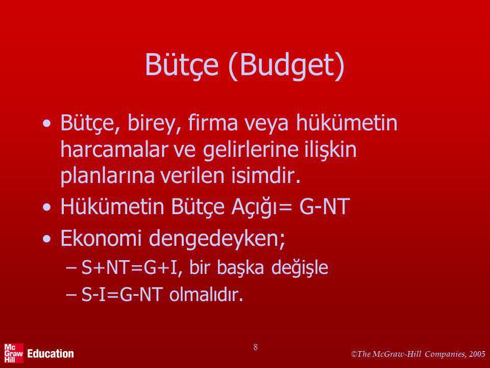 © The McGraw-Hill Companies, 2005 8 Bütçe (Budget) Bütçe, birey, firma veya hükümetin harcamalar ve gelirlerine ilişkin planlarına verilen isimdir. Hü