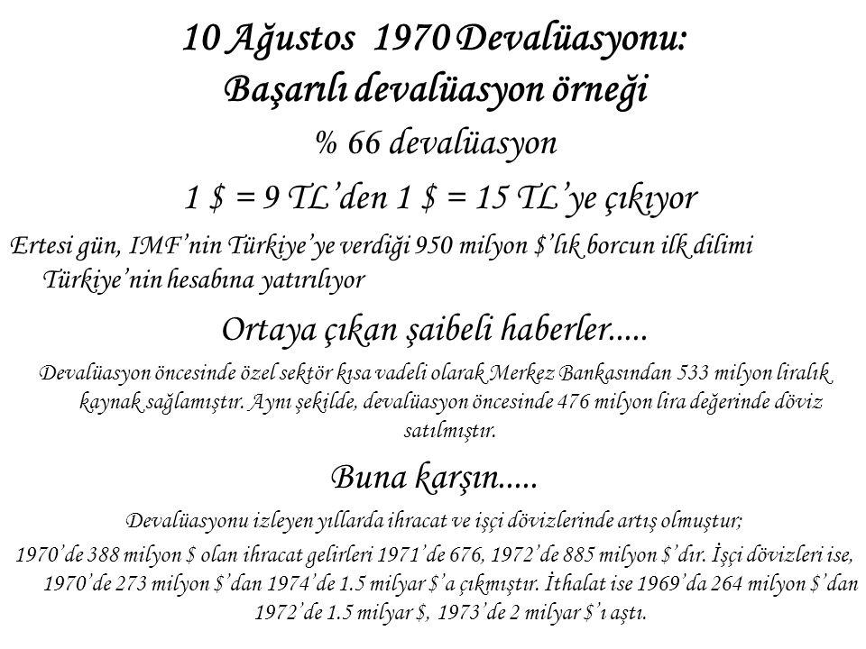 10 Ağustos 1970 Devalüasyonu: Başarılı devalüasyon örneği % 66 devalüasyon 1 $ = 9 TL'den 1 $ = 15 TL'ye çıkıyor Ertesi gün, IMF'nin Türkiye'ye verdiğ