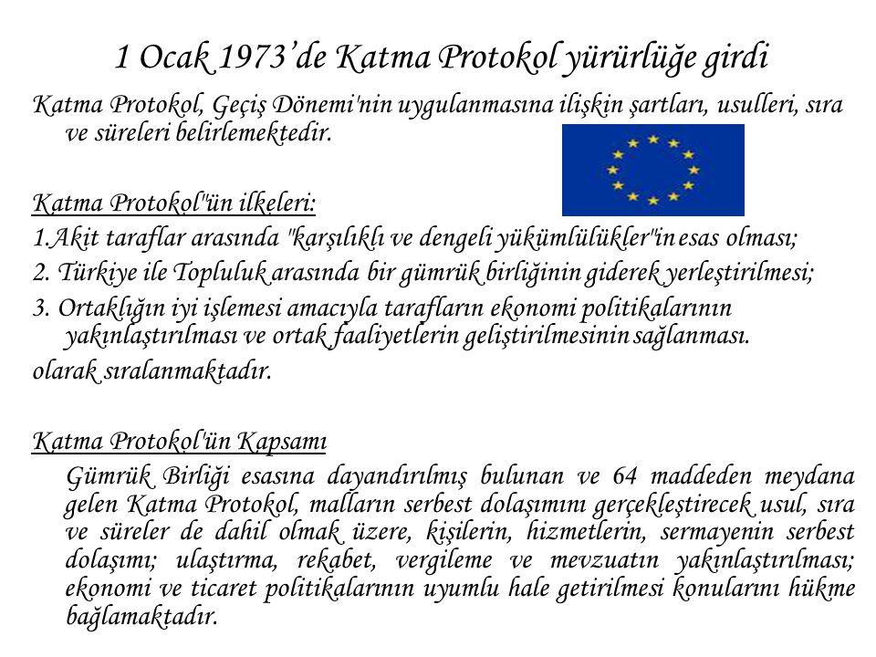 1 Ocak 1973'de Katma Protokol yürürlüğe girdi Katma Protokol, Geçiş Dönemi'nin uygulanmasına ilişkin şartları, usulleri, sıra ve süreleri belirlemekte