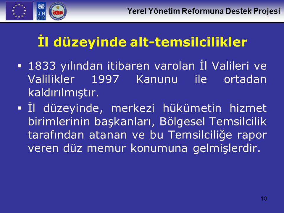 Yerel Yönetim Reformuna Destek Projesi 10 İl düzeyinde alt-temsilcilikler  1833 yılından itibaren varolan İl Valileri ve Valilikler 1997 Kanunu ile o