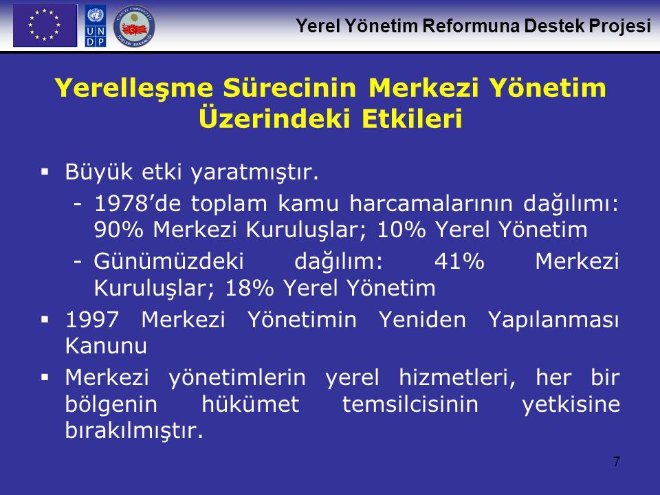Yerel Yönetim Reformuna Destek Projesi 7 Yerelleşme Sürecinin Merkezi Yönetim Üzerindeki Etkileri  Büyük etki yaratmıştır. -1978'de toplam kamu harca