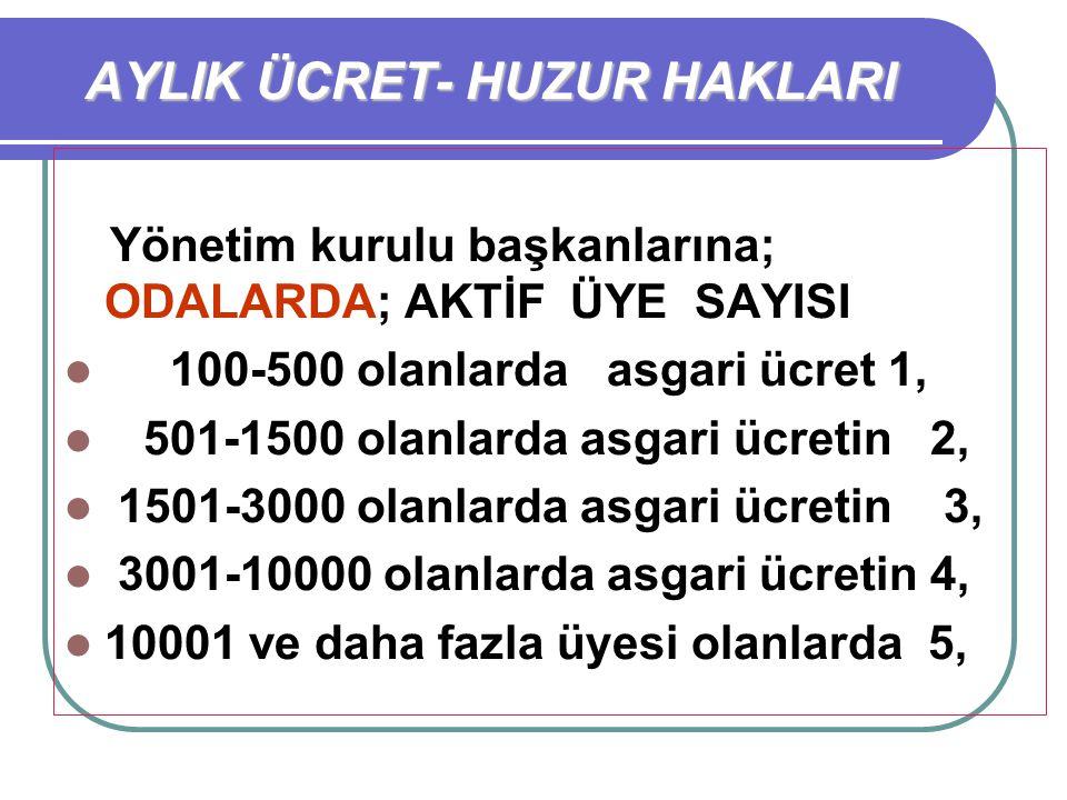 Yönetim kurulu başkanlarına; ODALARDA; AKTİF ÜYE SAYISI 100-500 olanlarda asgari ücret 1, 501-1500 olanlarda asgari ücretin 2, 1501-3000 olanlarda asg