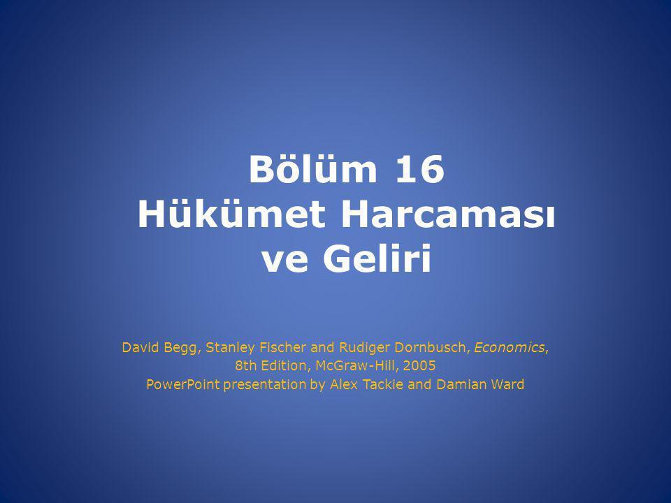 Bölüm 16 Hükümet Harcaması ve Geliri David Begg, Stanley Fischer and Rudiger Dornbusch, Economics, 8th Edition, McGraw-Hill, 2005 PowerPoint presentation by Alex Tackie and Damian Ward