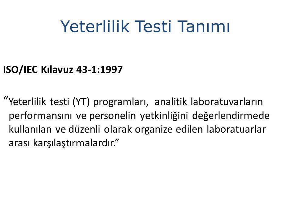 ISO/IEC Kılavuz 43-1:1997 Yeterlilik testi (YT) programları, analitik laboratuvarların performansını ve personelin yetkinliğini değerlendirmede kullanılan ve düzenli olarak organize edilen laboratuarlar arası karşılaştırmalardır. Yeterlilik Testi Tanımı