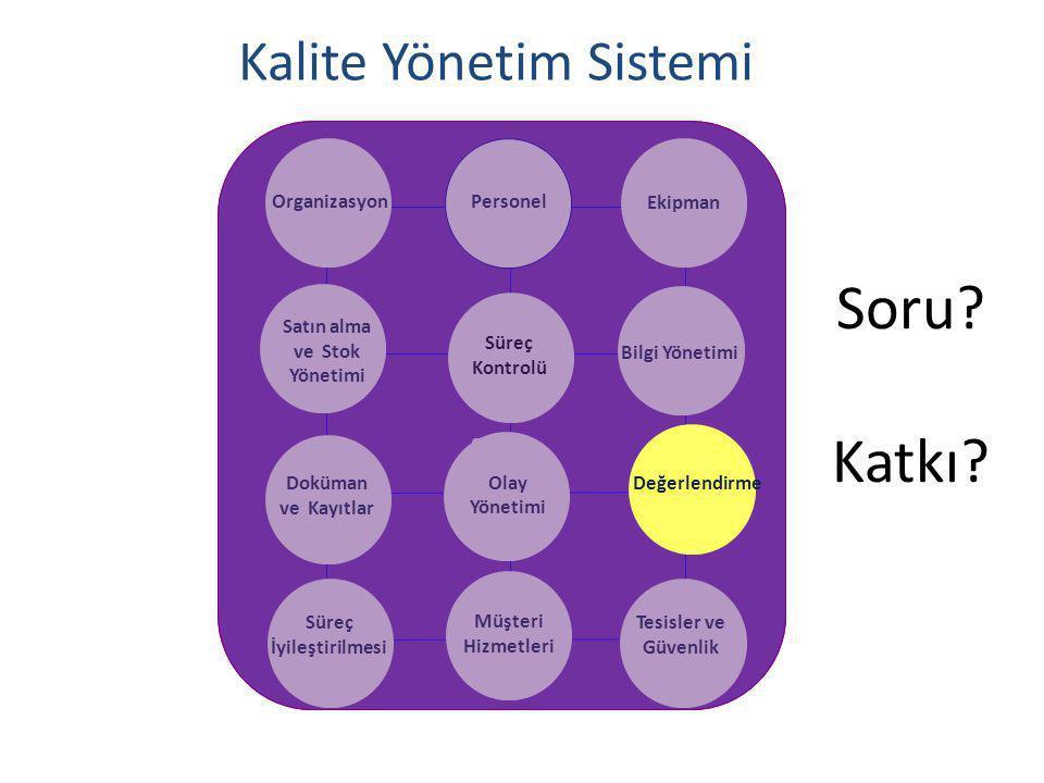Kalite Yönetim Sistemi OrganizasyonPersonel Ekipman Satın alma ve Stok Yönetimi Bilgi Yönetimi Doküman ve Kayıtlar Olay Yönetimi Süreç İyileştirilmesi Müşteri Hizmetleri Tesisler ve Güvenlik Süreç Kontrolü Değerlendirme Soru.