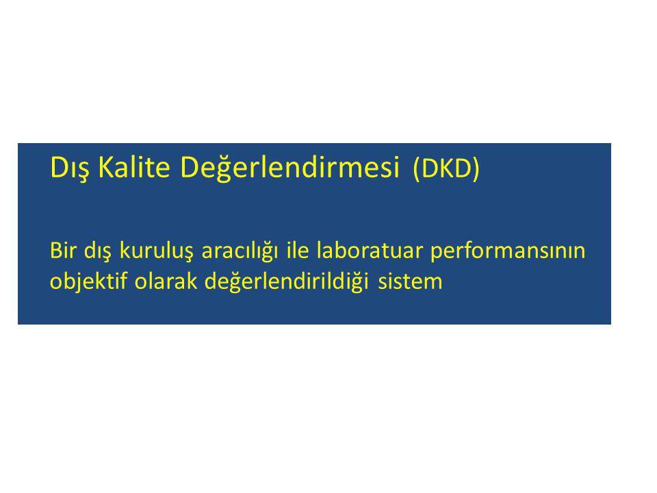 Dış Kalite Değerlendirmesi (DKD) Bir dış kuruluş aracılığı ile laboratuar performansının objektif olarak değerlendirildiği sistem