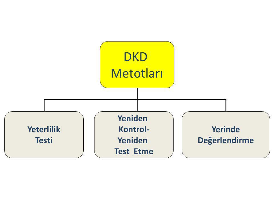 DKD Metotları Yeterlilik Testi Yeniden Kontrol- Yeniden Test Etme Yerinde Değerlendirme