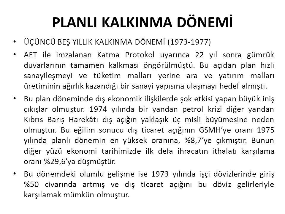 PLANLI KALKINMA DÖNEMİ ÜÇÜNCÜ BEŞ YILLIK KALKINMA DÖNEMİ (1973-1977) AET ile imzalanan Katma Protokol uyarınca 22 yıl sonra gümrük duvarlarının tamame