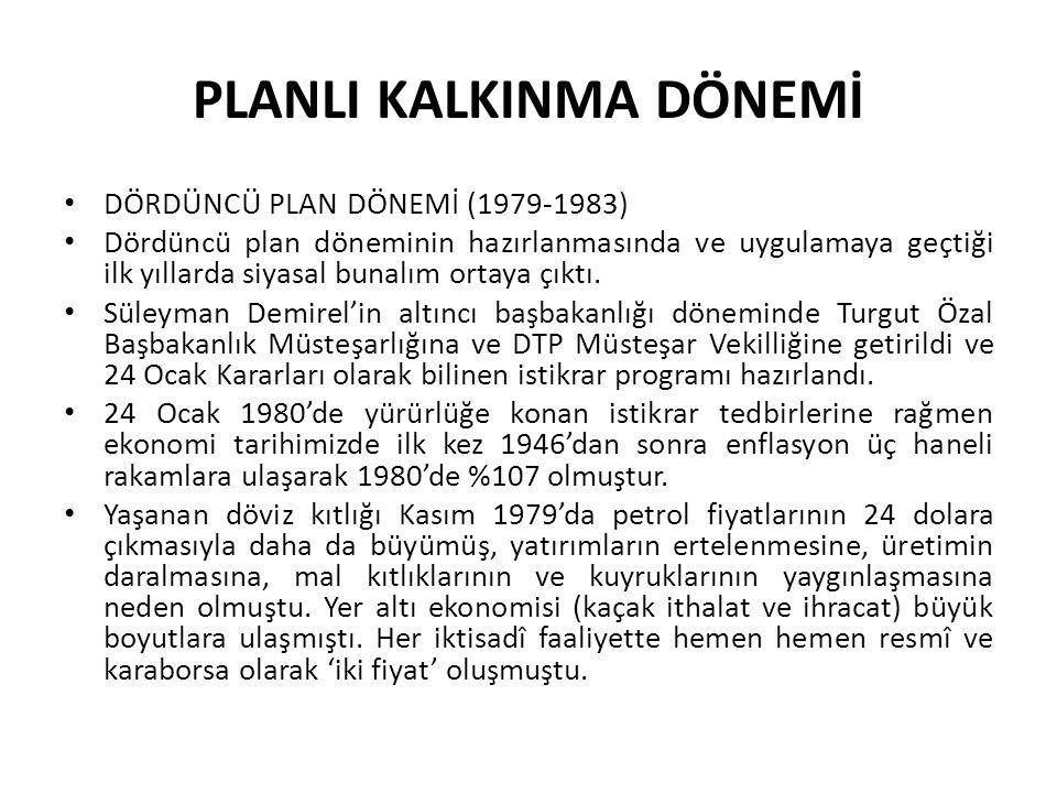 PLANLI KALKINMA DÖNEMİ DÖRDÜNCÜ PLAN DÖNEMİ (1979-1983) Dördüncü plan döneminin hazırlanmasında ve uygulamaya geçtiği ilk yıllarda siyasal bunalım ort