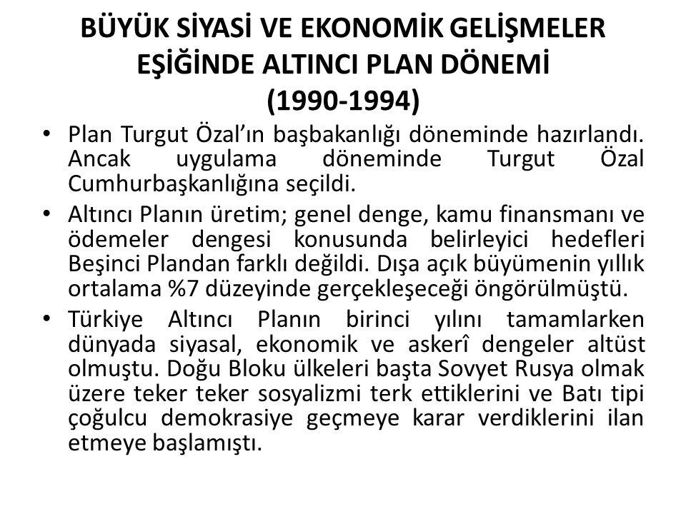 BÜYÜK SİYASİ VE EKONOMİK GELİŞMELER EŞİĞİNDE ALTINCI PLAN DÖNEMİ (1990-1994) Plan Turgut Özal'ın başbakanlığı döneminde hazırlandı. Ancak uygulama dön