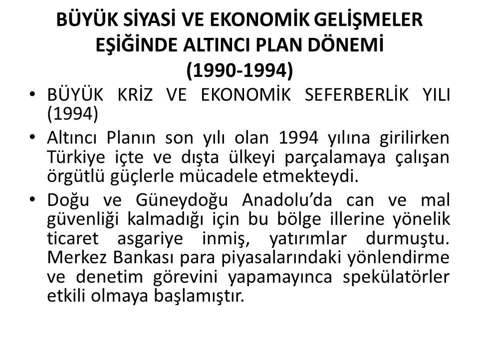 BÜYÜK SİYASİ VE EKONOMİK GELİŞMELER EŞİĞİNDE ALTINCI PLAN DÖNEMİ (1990-1994) BÜYÜK KRİZ VE EKONOMİK SEFERBERLİK YILI (1994) Altıncı Planın son yılı ol