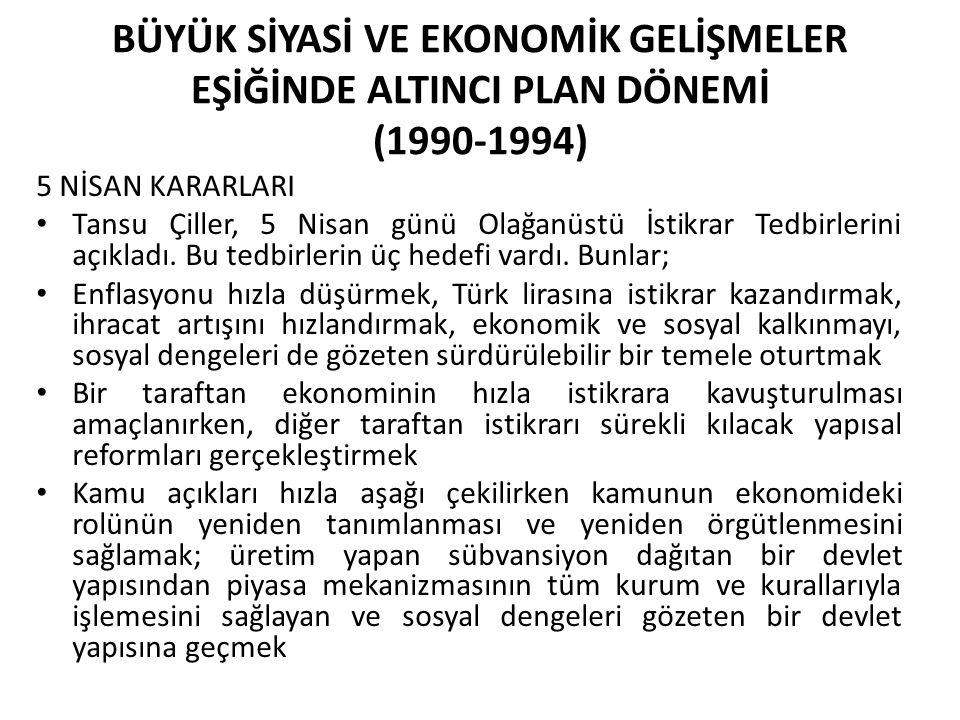 BÜYÜK SİYASİ VE EKONOMİK GELİŞMELER EŞİĞİNDE ALTINCI PLAN DÖNEMİ (1990-1994) 5 NİSAN KARARLARI Tansu Çiller, 5 Nisan günü Olağanüstü İstikrar Tedbirle