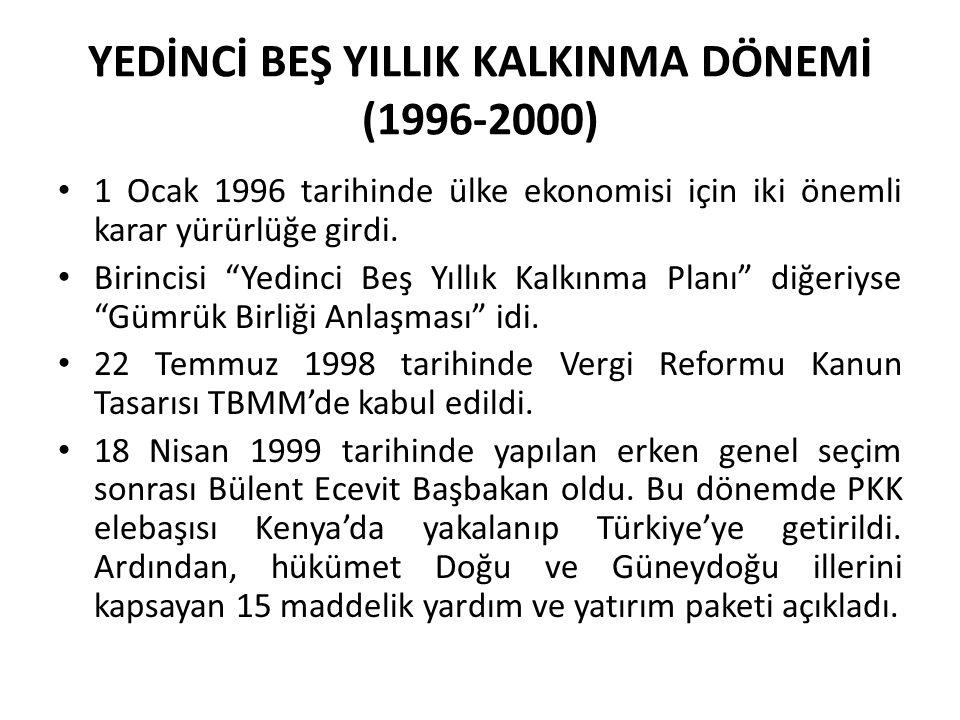 """YEDİNCİ BEŞ YILLIK KALKINMA DÖNEMİ (1996-2000) 1 Ocak 1996 tarihinde ülke ekonomisi için iki önemli karar yürürlüğe girdi. Birincisi """"Yedinci Beş Yıll"""