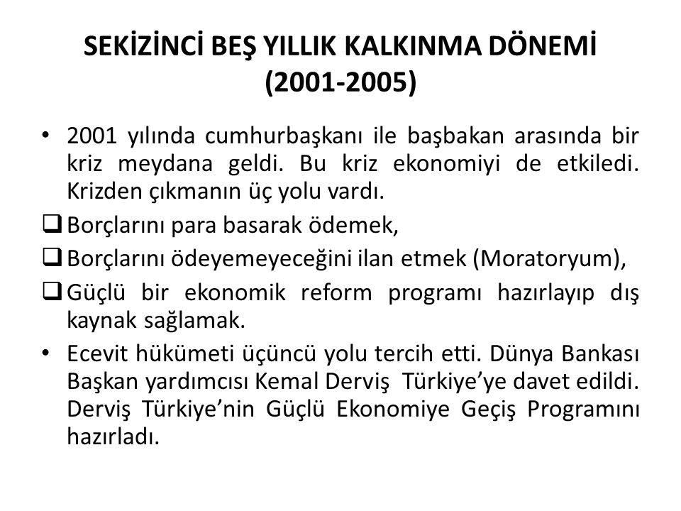 SEKİZİNCİ BEŞ YILLIK KALKINMA DÖNEMİ (2001-2005) 2001 yılında cumhurbaşkanı ile başbakan arasında bir kriz meydana geldi. Bu kriz ekonomiyi de etkiled