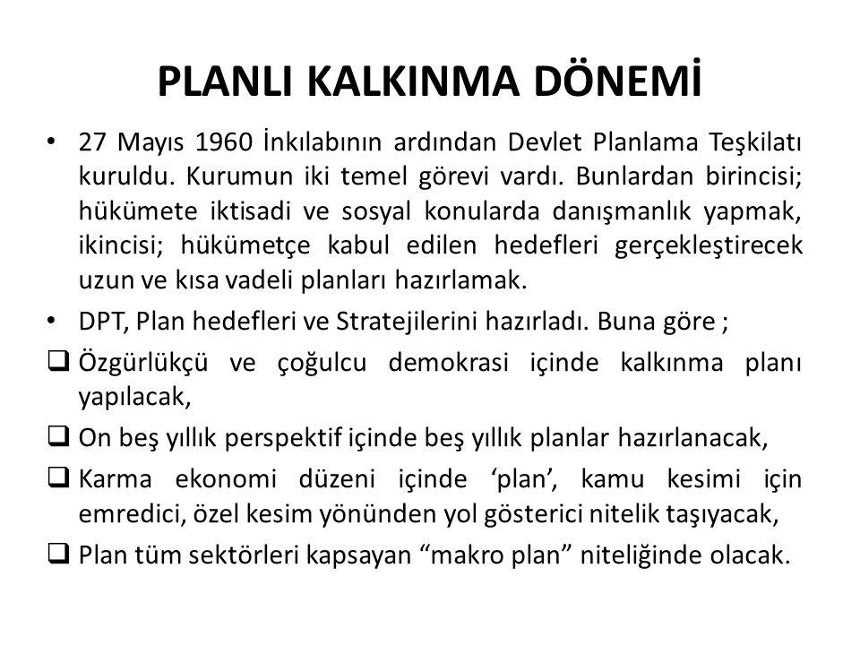 PLANLI KALKINMA DÖNEMİ 27 Mayıs 1960 İnkılabının ardından Devlet Planlama Teşkilatı kuruldu. Kurumun iki temel görevi vardı. Bunlardan birincisi; hükü