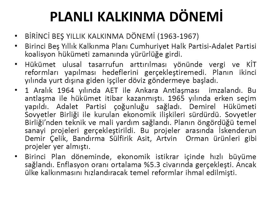 PLANLI KALKINMA DÖNEMİ BİRİNCİ BEŞ YILLIK KALKINMA DÖNEMİ (1963-1967) Birinci Beş Yıllık Kalkınma Planı Cumhuriyet Halk Partisi-Adalet Partisi koalisy