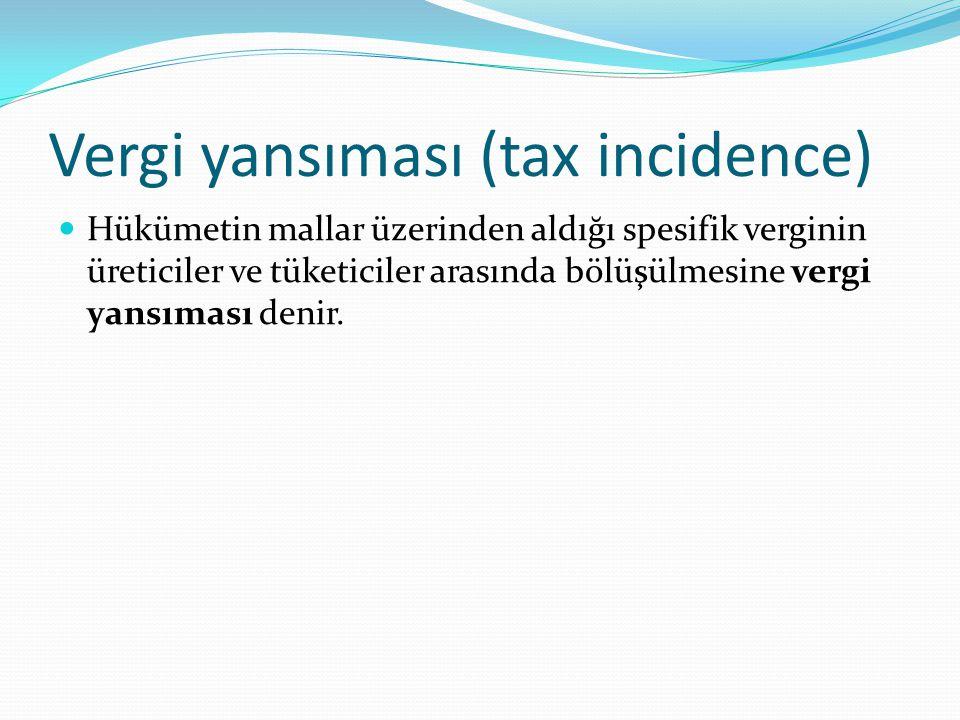 Vergi yansıması (tax incidence) Hükümetin mallar üzerinden aldığı spesifik verginin üreticiler ve tüketiciler arasında bölüşülmesine vergi yansıması d