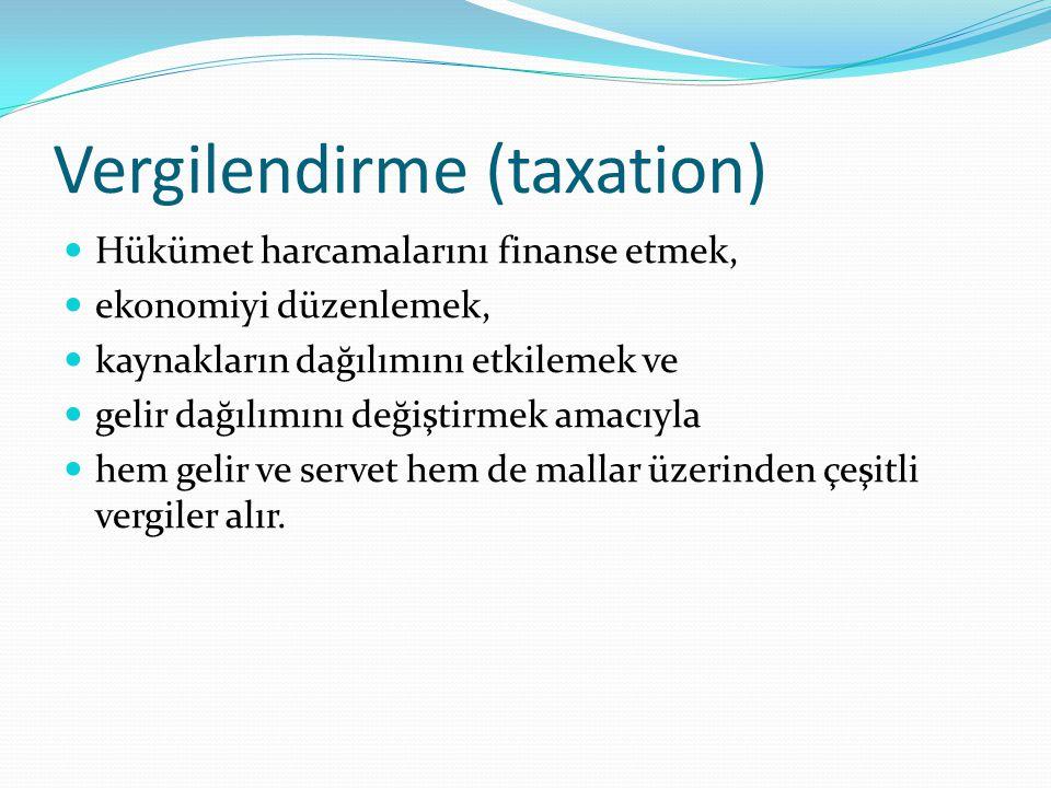 Dolaysız-dolaylı vergiler Hükümetin faktör gelirleri (rant, ücret, faiz, kâr) ve servet üzerinden aldığı vergilere dolaysız vergiler (direct taxes), mallar için yapılan harcamalar üzerinden aldığı vergilere dolaylı vergiler (indirect taxes) denir.