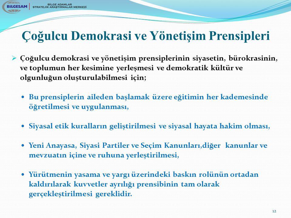 Çoğulcu Demokrasi ve Yönetişim Prensipleri  Çoğulcu demokrasi ve yönetişim prensiplerinin siyasetin, bürokrasinin, ve toplumun her kesimine yerleşmesi ve demokratik kültür ve olgunluğun oluşturulabilmesi için; Bu prensiplerin aileden başlamak üzere eğitimin her kademesinde öğretilmesi ve uygulanması, Siyasal etik kuralların geliştirilmesi ve siyasal hayata hakim olması, Yeni Anayasa, Siyasi Partiler ve Seçim Kanunları,diğer kanunlar ve mevzuatın içine ve ruhuna yerleştirilmesi, Yürütmenin yasama ve yargı üzerindeki baskın rolünün ortadan kaldırılarak kuvvetler ayrılığı prensibinin tam olarak gerçekleştirilmesi gereklidir.