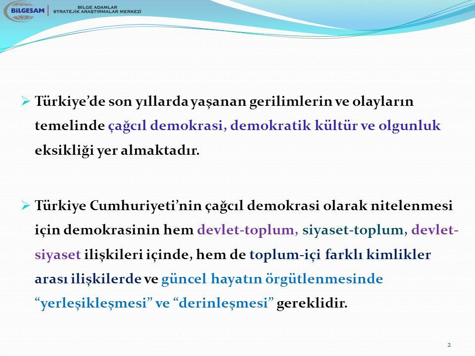  Türkiye'de son yıllarda yaşanan gerilimlerin ve olayların temelinde çağcıl demokrasi, demokratik kültür ve olgunluk eksikliği yer almaktadır.  Türk