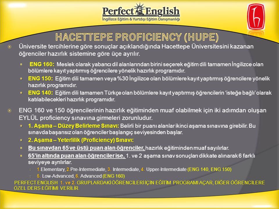  Üniversite tercihlerine göre sonuçlar açıklandığında Hacettepe Üniversitesini kazanan öğrenciler hazırlık sistemine göre üçe ayrılır. ENG 160: ENG 1
