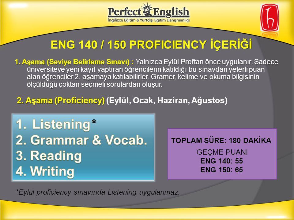 ENG 140 / 150 PROFICIENCY İÇERİĞİ TOPLAM SÜRE: 180 DAKİKA GEÇME PUANI ENG 140: 55 ENG 150: 65 *Eylül proficiency sınavında Listening uygulanmaz.