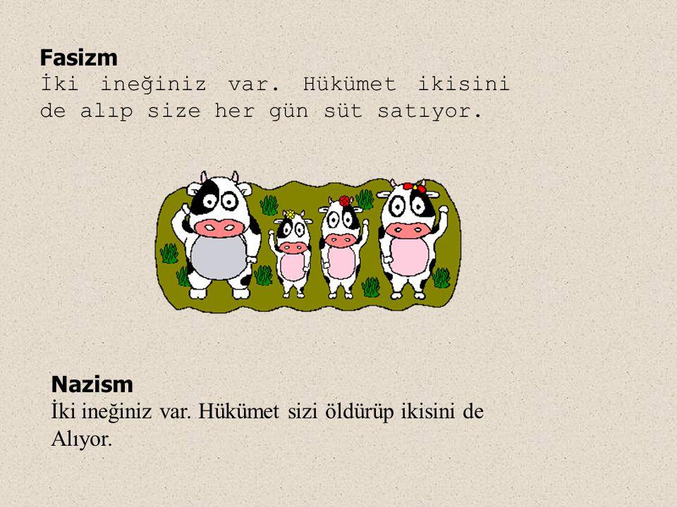 Fasizm İki ineğiniz var. Hükümet ikisini de alıp size her gün süt satıyor. Nazism İki ineğiniz var. Hükümet sizi öldürüp ikisini de Alıyor.