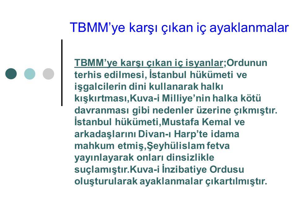 I.TBMM'nin aldığı ilk kararlar 1.Hükümet kurmak gereklidir.(Kurucu meclis özelliği) 2.Geçici olmak kaydıyla bir hükümet başkanı veya padişah vekili atamak doğru değildir.(Meclisin aldığı kararlarda bağımsız olması gerektiği vurgulanmıştır.