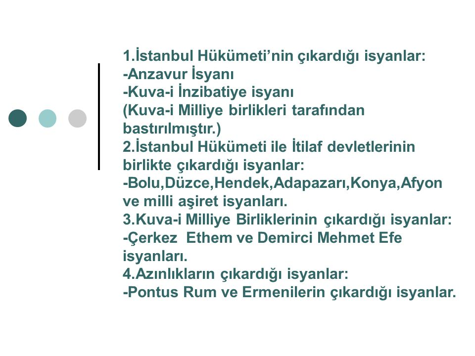 TBMM'ye karşı çıkan iç ayaklanmalar TBMM'ye karşı çıkan iç isyanlar;Ordunun terhis edilmesi, İstanbul hükümeti ve işgalcilerin dini kullanarak halkı kışkırtması,Kuva-i Milliye'nin halka kötü davranması gibi nedenler üzerine çıkmıştır.