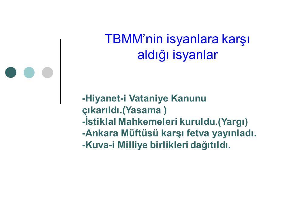 TBMM'nin isyanlara karşı aldığı isyanlar -Hiyanet-i Vataniye Kanunu çıkarıldı.(Yasama ) -İstiklal Mahkemeleri kuruldu.(Yargı) -Ankara Müftüsü karşı fetva yayınladı.