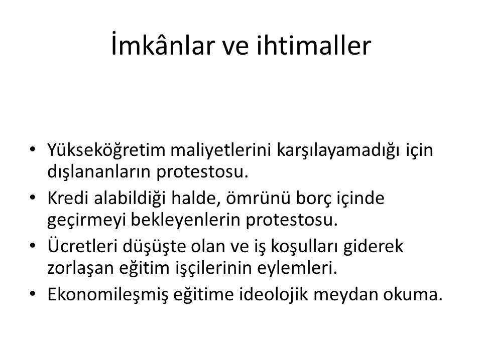 İmkânlar ve ihtimaller Yükseköğretim maliyetlerini karşılayamadığı için dışlananların protestosu.
