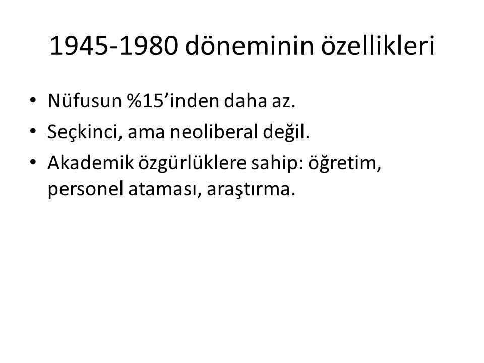 1945-1980 döneminin özellikleri Nüfusun %15'inden daha az. Seçkinci, ama neoliberal değil. Akademik özgürlüklere sahip: öğretim, personel ataması, ara
