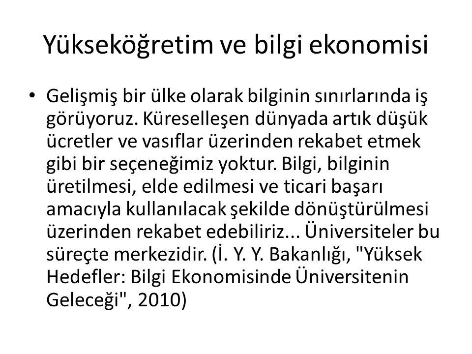 Yükseköğretim ve bilgi ekonomisi Gelişmiş bir ülke olarak bilginin sınırlarında iş görüyoruz.