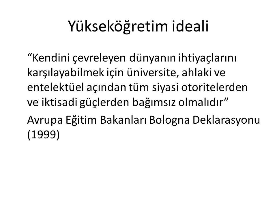 """Yükseköğretim ideali """"Kendini çevreleyen dünyanın ihtiyaçlarını karşılayabilmek için üniversite, ahlaki ve entelektüel açından tüm siyasi otoritelerde"""
