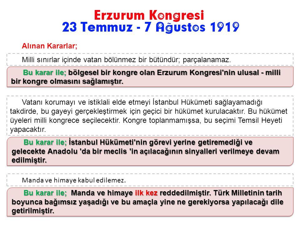 Doğu Anadolu Müdafaa-i Hukuk Cemiyeti'nin ve Trabzon Muhafaza-i hukuk-u Milliye Cemiyetinin girişimleriyle Doğu Anadolu'daki Ermeni ve Karadeniz Bölge