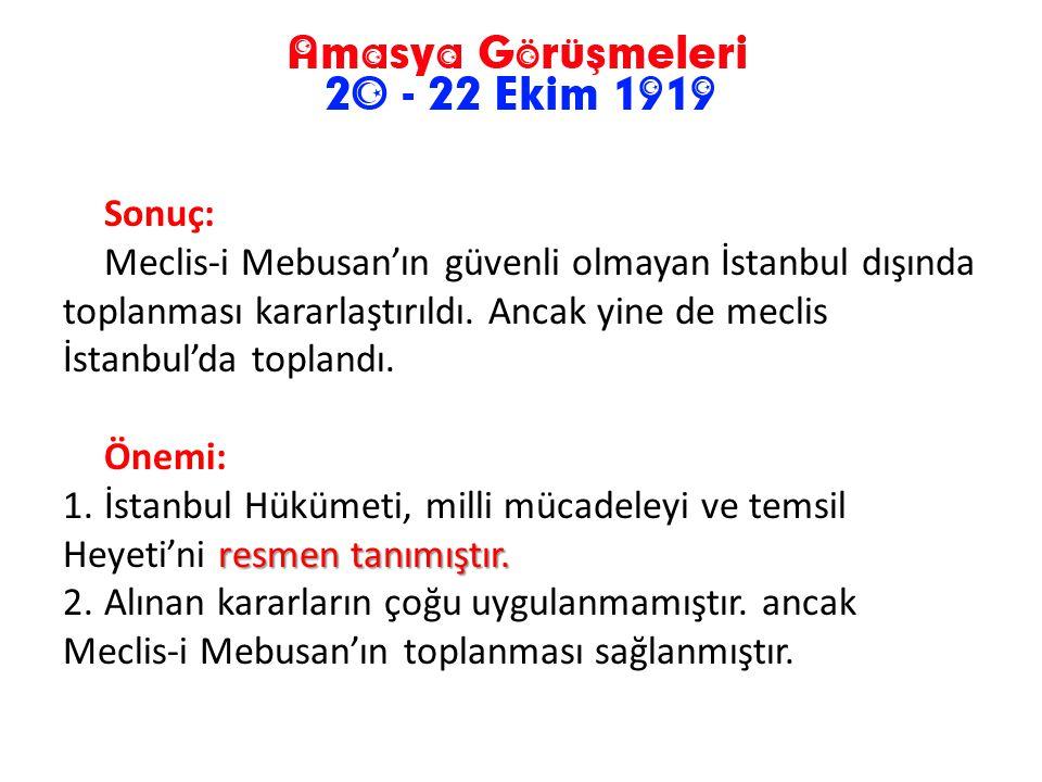 Alınan Kararlar; 1.Türk vatanının bütünlüğü ve bağımsızlığı korunacaktır 2.Mebuslar Meclisi'nin derhal toplanması sağlanacaktır. 3.Hiçbir şekilde mand