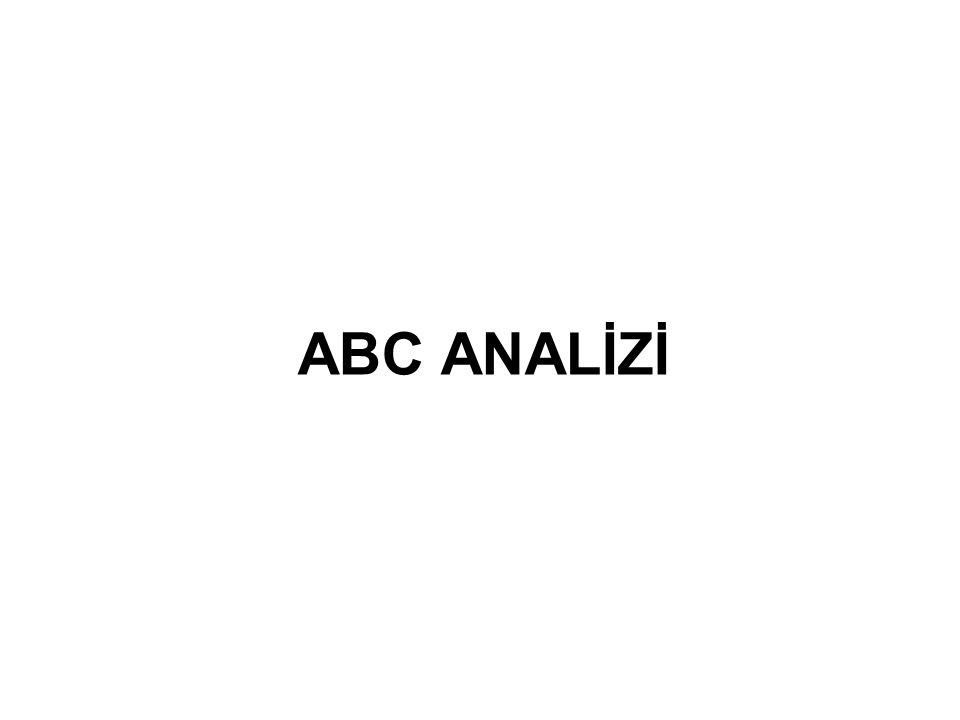 ABC ANALİZİ