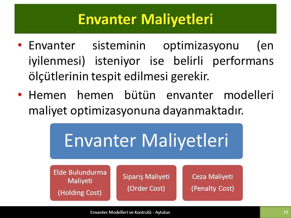 Envanter Maliyetleri Envanter sisteminin optimizasyonu (en iyilenmesi) isteniyor ise belirli performans ölçütlerinin tespit edilmesi gerekir. Hemen he