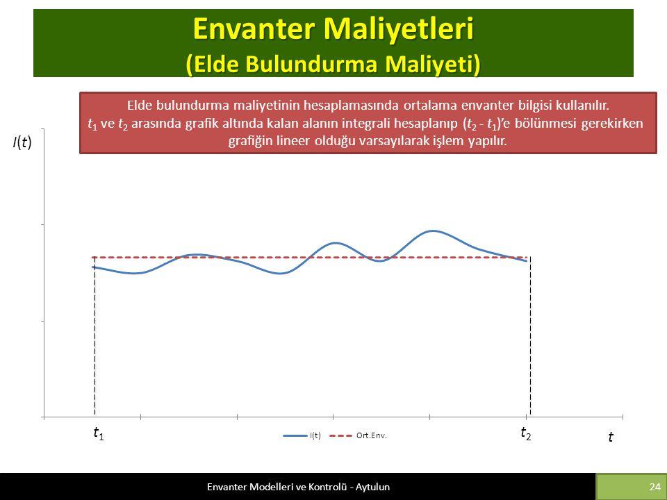 Envanter Maliyetleri (Elde Bulundurma Maliyeti) Elde bulundurma maliyetinin hesaplamasında ortalama envanter bilgisi kullanılır. t 1 ve t 2 arasında g